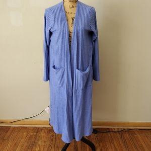 LuLaRoe Sarah Blue Knit Duster Cardigan Large